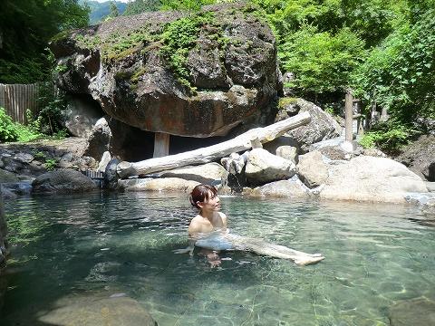 十谷温泉「源氏の湯」山梨 露天風呂 日帰り 混浴 画像