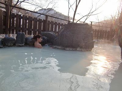 松川温泉 峡雲荘 温泉 混浴 露天風呂 日帰り入浴 画像