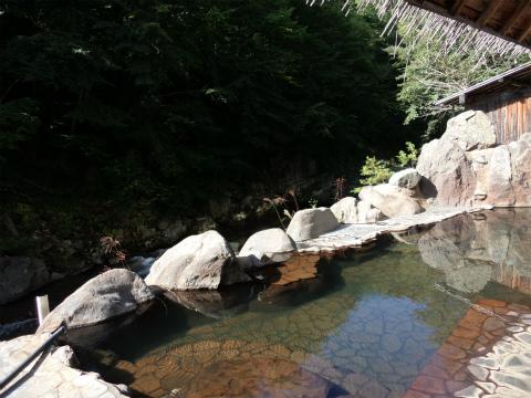 一柳閣の混浴露天風呂のイラスト