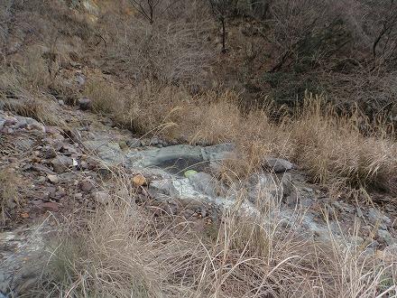 明礬温泉の野湯 泥湯は草むらに隠れています