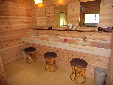 岩間温泉 山崎旅館の脱衣所にある洗面台